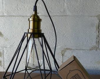 Mid Century MODERN styled Diamond CAGE pendant lamp