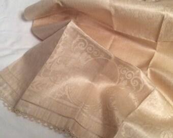 Antique Beige Damask Guest Towel