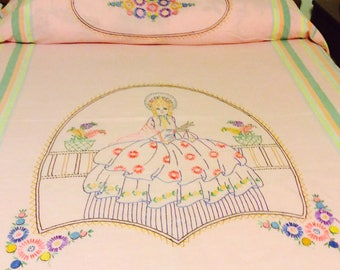 Pink Southeren Bell Hand Embroidered Bedspread 1940's-50's