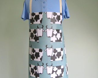 Child Pvc Apron - Moo Cows on a Teal Background, Toddler Apron, Oilcloth Apron, Waterproof Apron