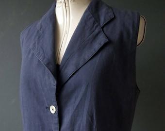 Vintage 80s 90s Denim Blue Linen Mix Long Vest Sleeveless Jacket Medium
