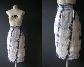 Blue Ivory White Shibori Pencil Contour Skirt