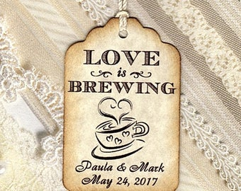 100 LOVE is Brewing tags-Party Favors Tags-Elegant Wedding THANK YOU Tags, Weddings, Bridal Showers - Personalized