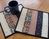 Quilted Mug Rugs 4th of July Americana Red White & Blue Patriotic Primitive Colored Fabrics Cream Homespun Accent Fabric - Two Snack Mats