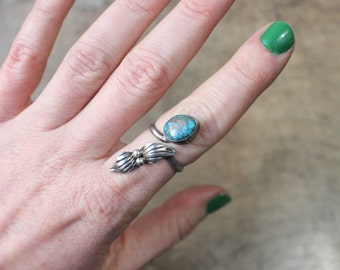 Navajo Wrap RING / Vintage Morenci Turquoise Jewelry / Southwest Sterling Silver Adustable Ring