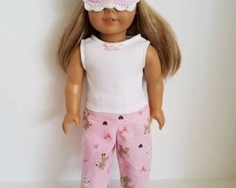 American Girl Doll Pajamas with or without sleep mask. Ready to ship!