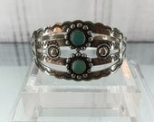 Native American Cuff Bracelet Sterling Silver,  2-Stone Turquoise, Scalloped Edges, Stamped Symbols, 6 Inches