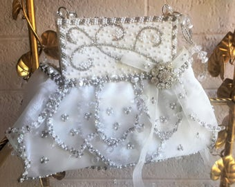 Mary Frances Purse Beaded With Crystals and Pearls Chic Sheer Elegance Bridal or Special Evening Engagement White and Silver/Gray