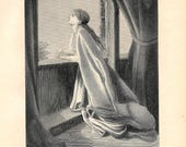Antique Steel Engraving Victorian Woman Daydreaming Future Gazing Looking out window Wishing Praying Christian prints Christian books art