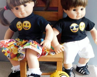 Hand made Emoji outfit for American Girl  Bitty Baby Dolls.  Comes for boy or girl.