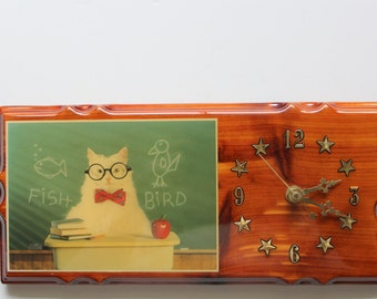 Vintage Cat Teacher Wooden Wall Clock 1980s