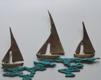 Vintage Brass Sailboat Wall Art 1970s