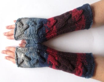 Fingerless Gloves Mittens wrist warmers Blue Burgundy Red Gray Dove knit
