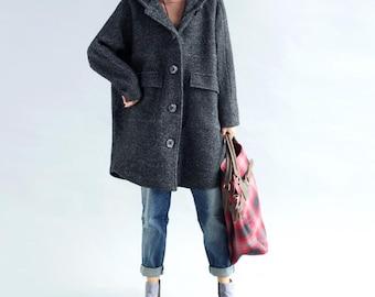 winter Bat Sleeve Oversize wool coat Hooded large size single breasted wool Overcoat