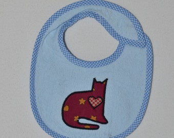 Country Cat Infant Bib- Sitting Country Cat with Heart Applique Terrycloth Infant Bib