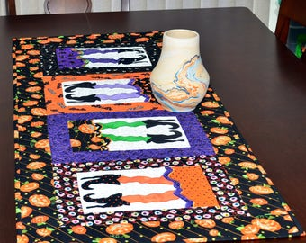 Halloween Table Runner - Witch's Legs and Jack-o-lanterns Halloween Quilted Table Runner