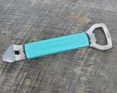 Vintage Foley Bottle Can Opener Aqua Handle