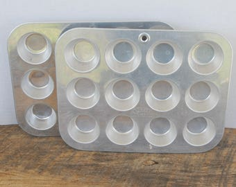 Vintage Mini Muffin Cupcake Pans Aluminum by Comet Set of 2