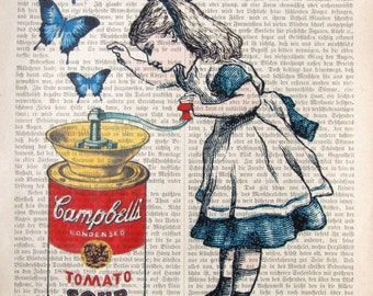 ALICE CAMPBELL art print poster alice in wonderland butterfly campbells soup