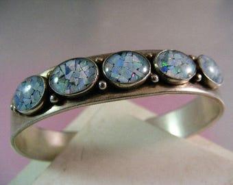 Vintage Opal Mosaic Cuff Bracelet in Sterling Silver.... Lot 5200