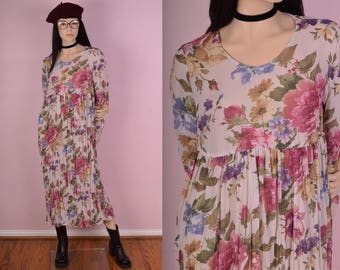 90s Floral Print Flowy Dress/ Medium/ 1990s/ Long Sleeve