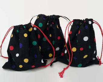 Three Colorful Dots on Back Birthday Drawstring Fabric Gift Bag Upcycled, Reusable
