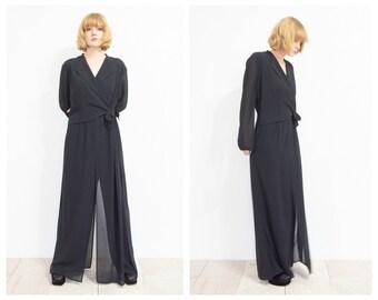 90s Avant Garde Sheer Black Formal Jumpsuit / Romper