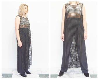90s Sleeveless Sheer Black High Slit Tunic Dress / Swim Cover