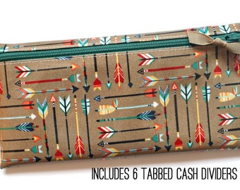 Envelope system wallet with 6 dividers | Dave Ramsey budget | laminated cotton in multi-color arrows