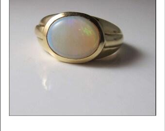 Vintage 14k Large Colorful Opal Gypsy Mount Ring
