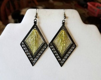 SALE New Metallic Diamond Green and Gold Thread Earrings Southwestern Native Boho, Hippie, Hipster, Gift, Mother, Sweet Heart, Ready to Ship