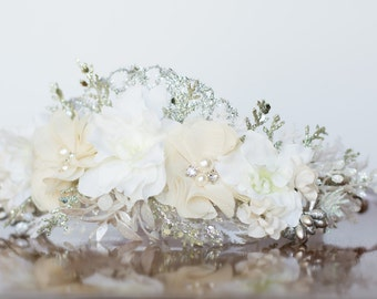 Silver Flower Crown - Christmas Halo- Wedding - Newborn Prop - Wedding Crown - Floral Hairpiece - Holiday Prop - Christmas Crown - Green