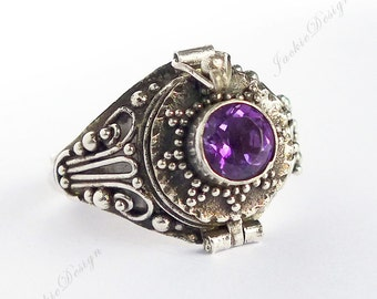 Size 7, 8, 9.5 Purple Amethyst GemStone Poison Ring Locket Secret Holder JD107