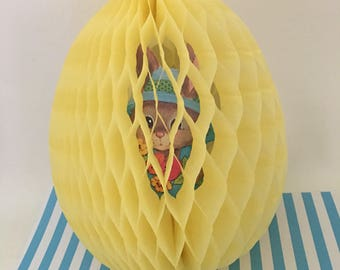 Vintage 1980s Easter Bunny Yellow Easter Egg Cardboard Cut out Honeycomb Tissue, Hanging Tissue Paper Easter Decoration