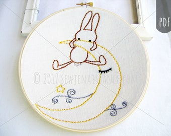 Embroidery PDF Pattern Goodnight Bunny Moon and Star Design