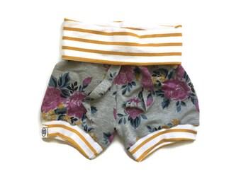 Jersey knit baby harem shorts/ cuff shorts/ summer shorts/ baby shorts/ fold over shorts/ toddler shorts/ gray floral