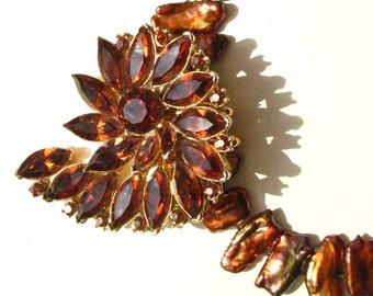 Refashioned vintage jewelry Pell brooch earrings Amber rhinestone stick pearls necklace  wearable art