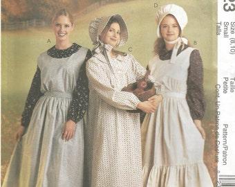 UNCUT 1998 McCalls 9423 Colonial  Prairie Pilgrim Dress Costume Outfit sizes 8, 10   Bust 32.5, Waist 25  Hip 34.5