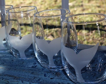 Whale Tail Design Custom Etched  Stemless Wine Glasses,SET of FOUR,  beach home accessory, housewarming gift, hostess gift