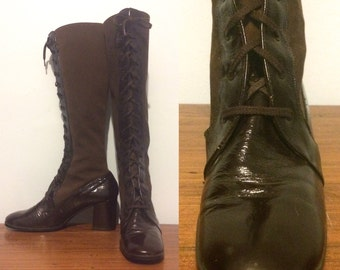 Vintage 60s Go Go Boots / Lace Up Brown Patent Suede Boots / High Heel Lace Up Boots
