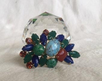 Vintage brooch  semi-precious stones rhinestones sort of matches Pedre Swiss watch in my shop turquoise jade lapis lazuli  jewelry bargain