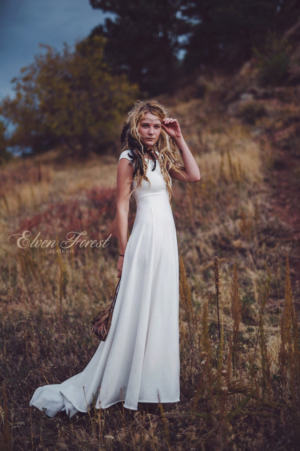 Simply Bohemian Wedding Dress Elven Forest Bride Gypsy