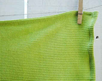 Organic Thermal Cotton Blanket - Light Weight, Hand Dyed, Organic Baby Blanket - Fresh Lime Green, Limited Edition Color