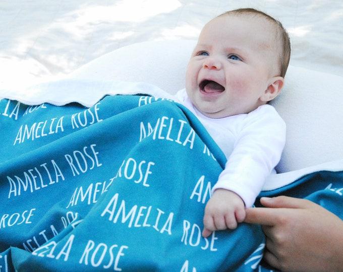Organic NAME Blanket - Personalized Blanket, Organic Cotton Knit Blanket, Swaddle Blanket, Toddler, Throw, Twin, Blanket