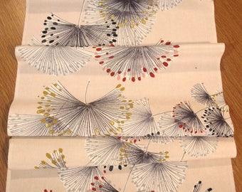 Vintage Full Roll Midcentury Modern Japanese Silk Kimono Fabric - Pale Peach Pink w/ Dandelion Puff Pattern.