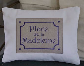 Custom decorative pillow cover with personalised applique number sign. White cushion. Embroidered Cushion. Custome cushion. Heirloom.