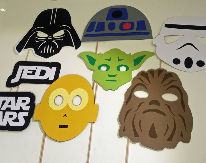 Photo Props: The Star Wars Set (8 Pieces) - party wedding birthday jedi force decoration yoda darth vader chewbacca r2d2 centerpiece cp3o