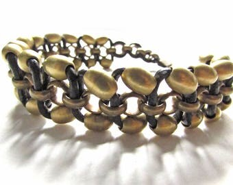 Men's Weaved Chain Bracelet with Genuine Leather, Solid Brass Beads from Africa