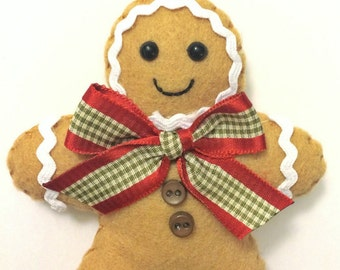 Felt Gingerbread Man Christmas Ornament - Personalized Ornament - Gingerbread Man - Christmas Ornament - Personalized Christmas Gift