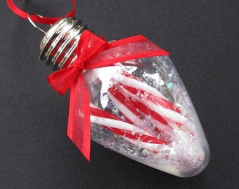 Christmas Bulb Ornament with Red and White Peppermint Sticks - Christmas Tree Ornament - Christmas Decoration - Ornament Exchange Gift
